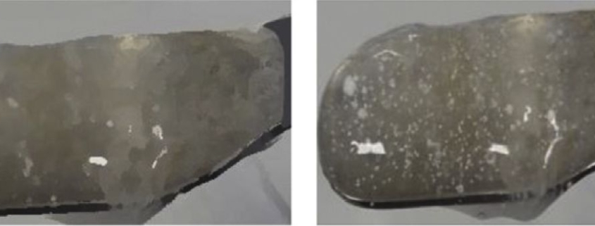 Figure 4: Images of a Jelly without (left) and with incorporation of sustained release micropellets (right).